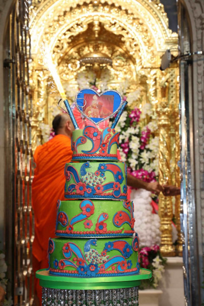 The intricately-decorated cake prepared by disciples to celebrate Acharya Swamishree's 75th manifestation day