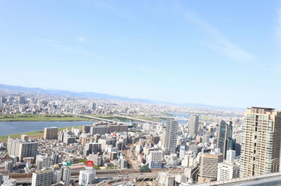 The view of the city from the Umeda Sky Building