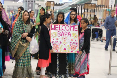 Disciples resident of Australia await the arrival of His Divine Holiness Acharya Swamishree, sants and disciples at the airport