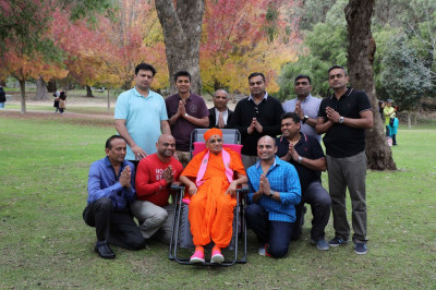 His Divine Holiness Acharya Swamishree blesses disciples from Bolton UK