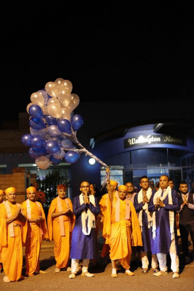 His Divine Holiness Acharya Swamishree releases the balloons