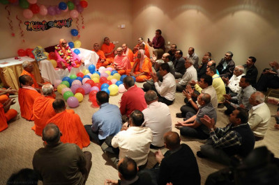 Sants and disciples gather to celebrate His Divine Holiness Acharya Swamishree's 75th anniversary as part of Sadbhav Amrut Parva