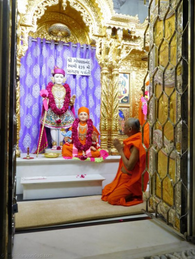 His Divine Holiness Acharya Swamishree performs the darshan of Lord Shree Swaminarayan and Sadguru Shree Gopalanand Swamibapa