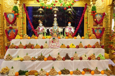 Divine darshan of Lord Shree Swaminarayanbapa Swamibapa dining on the annakut of freshly prepared sweet and savoury items