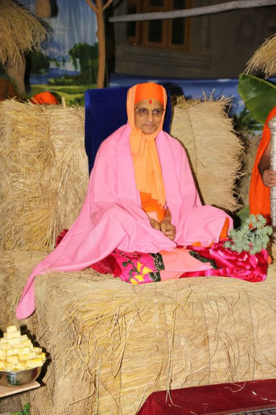 Divine darshan of Acharya Swamishree seated on a purpose-built bail of hay