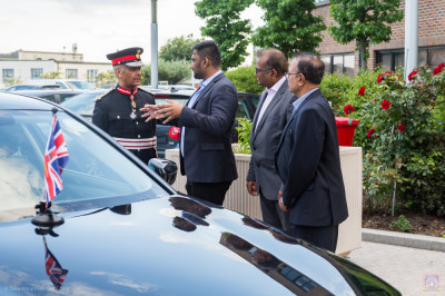 Lord Lieutenant Sir Kenneth Olisa OBE, Her Majesty's representative for Greater London arrives at Shree Swaminarayan Mandir Kingsbury