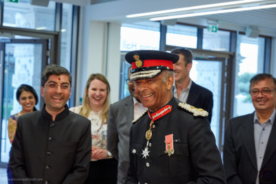 Lord Lieutenant Sir Kenneth Olisa OBE, Her Majesty's representative is introduced to the various charitable and community activities of the mandir