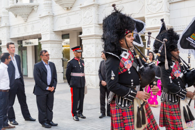 Shree Muktajeevan Swamibapa Pipe Band London perform and escort Lord Lieutenant Sir Kenneth Olisa OBE, Her Majesty's representative into the mandir