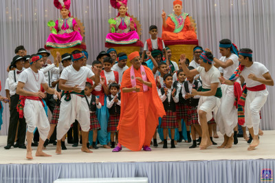 His Divine Holiness Acharya Swamishree dances with disciples