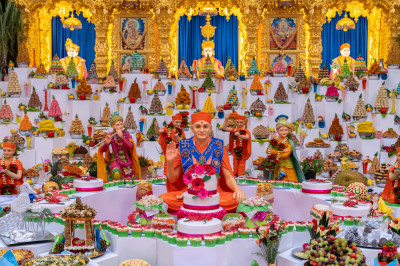 Divine darshan of the Lord dining on the huge annakut of sweet items, savoury items, drinks and fruit