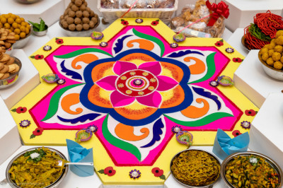 One of the magnificent rangoli centre pieces