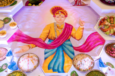 A close up of one of the main centre pieces includes a very large rangoli of Lord Shree Swaminarayan