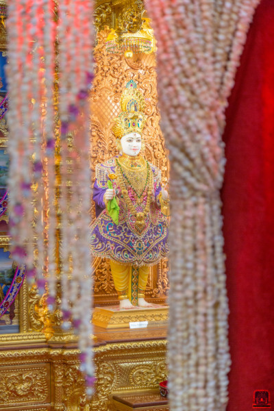 Divine darshan of Lord Shree Swaminarayan through the popcorn chains