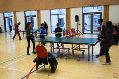 Young disciples practice table tennis