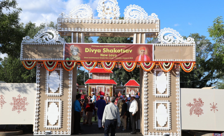 "Acharya Swamishree re-enacted the famous Shakotsav episode for the first time in North America, on Saturday, August 4th, 2018, at Shree Swaminarayan Temple – Secaucus, New Jersey. Disciples from all over North America and the world gathered for this event hosted in New Jersey in celebration of the temple's 17th Patotsav. The event was called ""Divya Shakotsav"" or ""Divine Shakotsav,"" as all the episodes performed by the Lord and His Satpurush are truly divine."