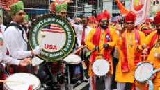 Shree Muktajeevan Swamibapa Pipe Band performs at the 38th Annual India Day Parade in New York City