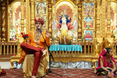 Young disciples perform a skit about Lord Shree Swaminarayan