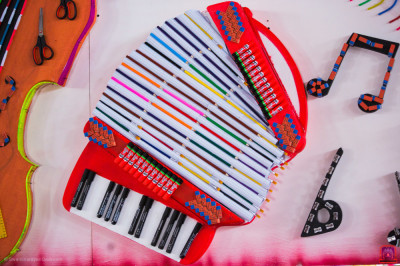 Accordion decorated with various stationery
