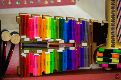 A colorful xylophone decorated with various stationery