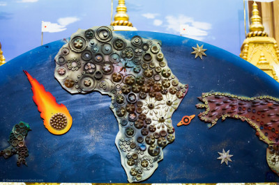 A map of Africa decorated with recyclable material