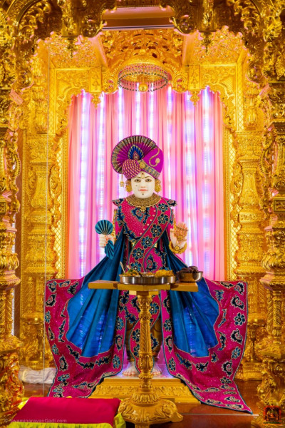 Divine darshan of Lord Shree Swaminarayan dining on evening dinner