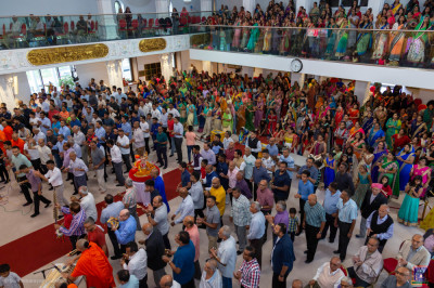 Disciples fill Shree Swaminarayan Mandir Kingsbury during the final hour of the 12 hour dhoon