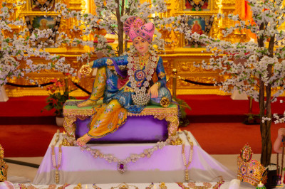 Divine darshan of Lord Shree Swaminarayan surrounded by wealth
