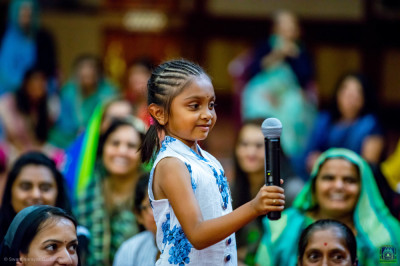 A young devotee takes part in the Sanskardeepika part 7 question answer session