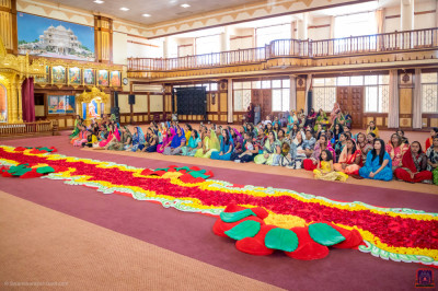 Devotees present for the welcoming ceremony
