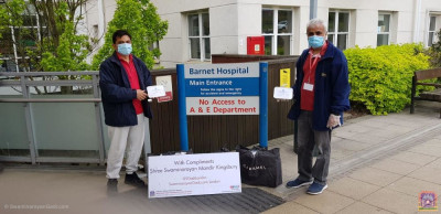 Disciples transport food items to London hospitals