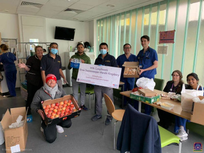 Disciples distribute fresh fruit and other essentials to NHS front line staff at London's hospitals
