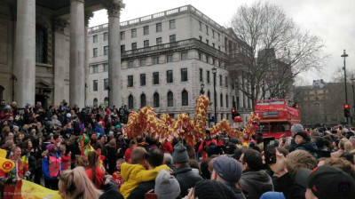 Dragon floats take part in the Chinese New Year's Day Parade in Central London