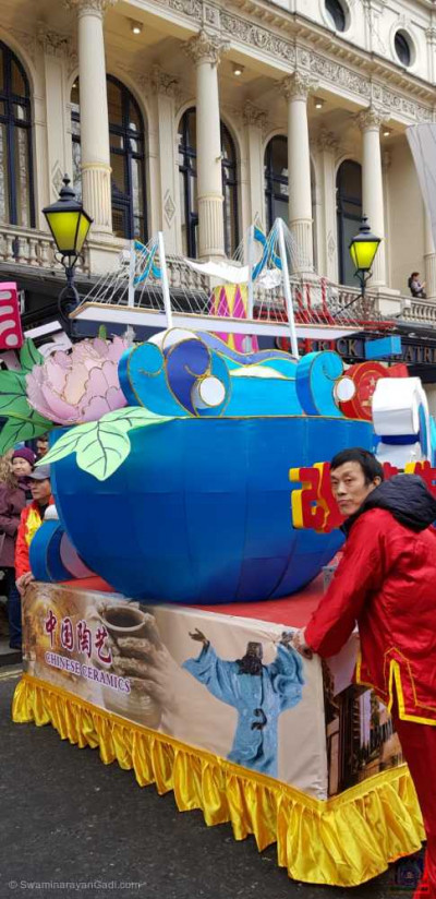 Many different Chinese themed floats take part in the parade