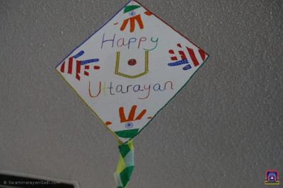 Young disciples made and decorated kites for the celebrations. The temple was decorated with their artwork