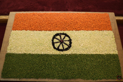 Disciples made the Indian flag out of chopped carrots, cabbage, green beans, black beans, and eggplant in celebration of Republic Day of India.