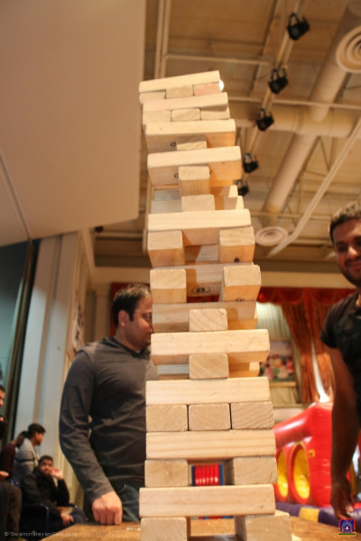 Disciples play lifesize jenga