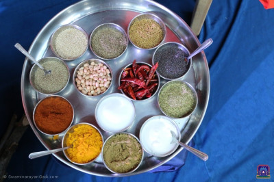 An array of spices used to cook the vegetables