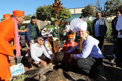 His Divine Holiness Acharya Swamishree plants a tree with the City of Bayswater Mayor Dan Bull and Deputy Mayor Chris Cornish