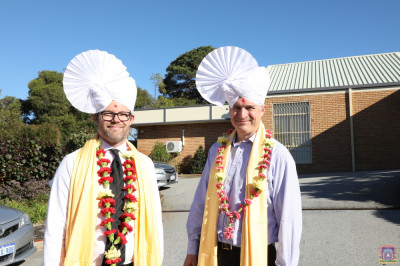 The City of Bayswater Mayor Dan Bull and Deputy Mayor Chris Cornish at the grounds of the new mandir
