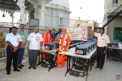 Sewing machines are donated to poor widows of the city