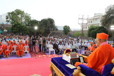 A special assembly was held in the grounds of Prag Mahal