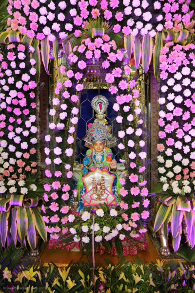 Divine darshan of the Lord seated in the flowers hindola