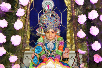 Divine darshan of Lord Shree Swaminarayan seated in the flower hindola