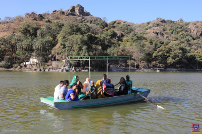 Disciples on a boat on Lake Nakhi