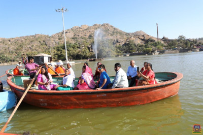Disciples in a boat at Lake Nakhi