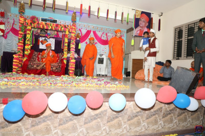 Sants and disciples perform a mini devotional drama