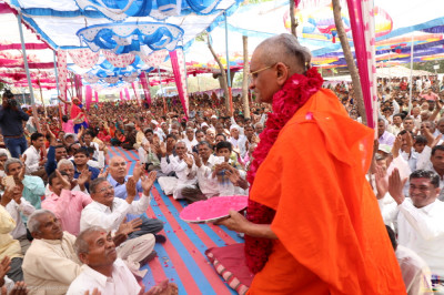 Acharya Swamishree Maharaj showers coloured powder on disciples