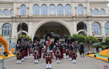 Shree Muktajeevan Swamibapa Pipe Band performs at the 85th Fete du Citron