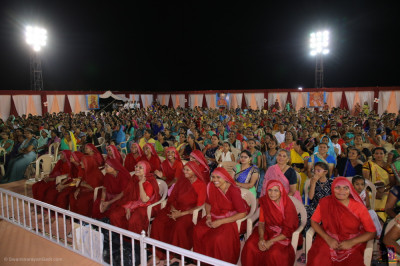 Sankhya Yogi ladies and thousands of disciples enjoy the evening celebrations