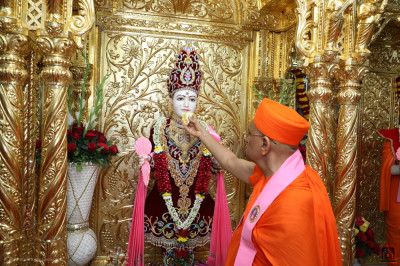 Acharya Swamishree Maharaj offers cake to Lord Shree Swaminarayan